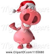 Swine Clipart of 3d Christmas Pig Waving by Julos