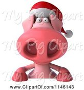 Swine Clipart of 3d Christmas Pig with a Sign 2 by Julos