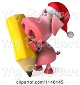 Swine Clipart of 3d Christmas Pig Writing with a Giant Pencil by Julos