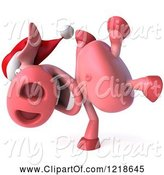 Swine Clipart of 3d Christmas Pookie Pig Doing a Hand Stand by Julos