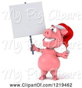 Swine Clipart of 3d Christmas Pookie Pig Holding a Sign by Julos