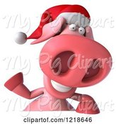 Swine Clipart of 3d Christmas Pookie Pig Waving over a Sign by Julos