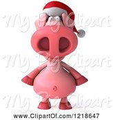 Swine Clipart of 3d Christmas Pookie Pig Wearing a Santa Hat by Julos