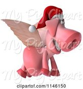 Swine Clipart of 3d Christmas Winged Pig Flying to the Right by Julos