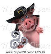 Swine Clipart of 3d Chubby Breton Pig Holding a Triskele, on a White Background by Julos