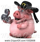 Swine Clipart of 3d Chubby Breton Pig, on a White Background by Julos
