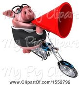 Swine Clipart of 3d Chubby Business Pig Biker Riding a Chopper Motorcycle, on a White Background by Julos