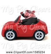 Swine Clipart of 3d Chubby Business Pig Driving a Convertible, on a White Background by Julos