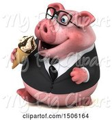 Swine Clipart of 3d Chubby Business Pig Eating a Waffle Cone, on a White Background by Julos