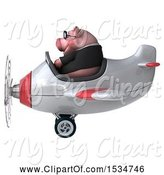 Swine Clipart of 3d Chubby Business Pig Flying a Plane, on a White Background by Julos