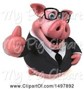 Swine Clipart of 3d Chubby Business Pig Giving a Thumb Up, on a White Background by Julos