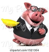 Swine Clipart of 3d Chubby Business Pig Holding a Banana, on a White Background by Julos