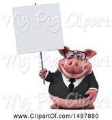 Swine Clipart of 3d Chubby Business Pig Holding a Blank Sign, on a White Background by Julos