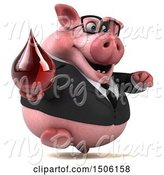 Swine Clipart of 3d Chubby Business Pig Holding a Blood Drop, on a White Background by Julos