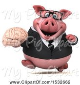 Swine Clipart of 3d Chubby Business Pig Holding a Brain, on a White Background by Julos