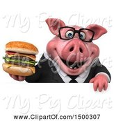Swine Clipart of 3d Chubby Business Pig Holding a Burger, on a White Background by Julos
