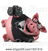 Swine Clipart of 3d Chubby Business Pig Holding a Camera, on a White Background by Julos