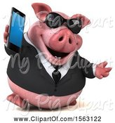 Swine Clipart of 3d Chubby Business Pig Holding a Cell Phone, on a White Background by Julos