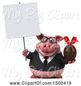 Swine Clipart of 3d Chubby Business Pig Holding a Chocolate Egg, on a White Background by Julos