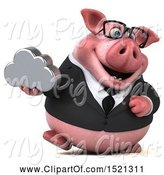 Swine Clipart of 3d Chubby Business Pig Holding a Cloud, on a White Background by Julos