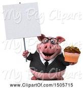 Swine Clipart of 3d Chubby Business Pig Holding a Cupcake, on a White Background by Julos