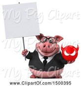 Swine Clipart of 3d Chubby Business Pig Holding a Devil, on a White Background by Julos