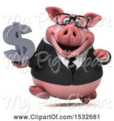 Swine Clipart of 3d Chubby Business Pig Holding a Dollar Sign, on a White Background by Julos