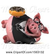 Swine Clipart of 3d Chubby Business Pig Holding a Donut, on a White Background by Julos