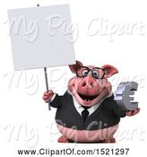 Swine Clipart of 3d Chubby Business Pig Holding a Euro, on a White Background by Julos