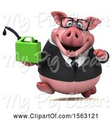 Swine Clipart of 3d Chubby Business Pig Holding a Gas Can, on a White Background by Julos