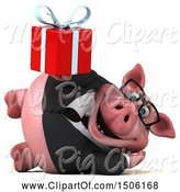 Swine Clipart of 3d Chubby Business Pig Holding a Gift, on a White Background by Julos