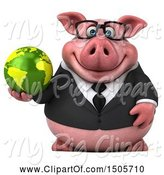Swine Clipart of 3d Chubby Business Pig Holding a Globe, on a White Background by Julos