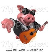 Swine Clipart of 3d Chubby Business Pig Holding a Guitar and Thumb Down, on a White Background by Julos