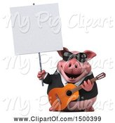 Swine Clipart of 3d Chubby Business Pig Holding a Guitar, on a White Background by Julos