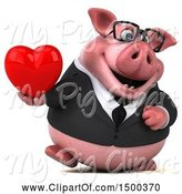 Swine Clipart of 3d Chubby Business Pig Holding a Heart, on a White Background by Julos