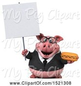 Swine Clipart of 3d Chubby Business Pig Holding a Hot Dog, on a White Background by Julos