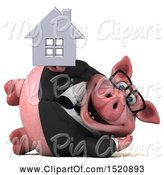 Swine Clipart of 3d Chubby Business Pig Holding a House, on a White Background by Julos