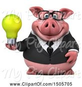 Swine Clipart of 3d Chubby Business Pig Holding a Light Bulb, on a White Background by Julos