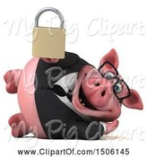 Swine Clipart of 3d Chubby Business Pig Holding a Padlock, on a White Background by Julos