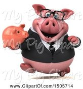 Swine Clipart of 3d Chubby Business Pig Holding a Piggy Bank, on a White Background by Julos