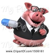 Swine Clipart of 3d Chubby Business Pig Holding a Pill, on a White Background by Julos