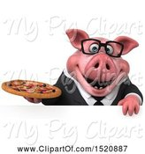 Swine Clipart of 3d Chubby Business Pig Holding a Pizza, on a White Background by Julos