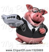 Swine Clipart of 3d Chubby Business Pig Holding a Plane, on a White Background by Julos