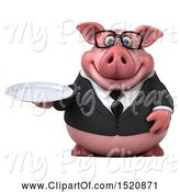 Swine Clipart of 3d Chubby Business Pig Holding a Plate, on a White Background by Julos