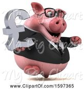 Swine Clipart of 3d Chubby Business Pig Holding a Pound Currency Symbol, on a White Background by Julos