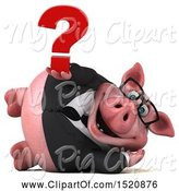 Swine Clipart of 3d Chubby Business Pig Holding a Question Mark, on a White Background by Julos