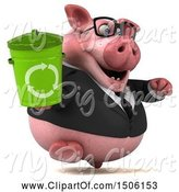Swine Clipart of 3d Chubby Business Pig Holding a Recycle Bin, on a White Background by Julos