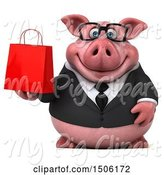 Swine Clipart of 3d Chubby Business Pig Holding a Shopping Bag, on a White Background by Julos
