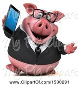 Swine Clipart of 3d Chubby Business Pig Holding a Smart Phone, on a White Background by Julos