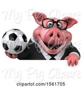 Swine Clipart of 3d Chubby Business Pig Holding a Soccer Ball, on a White Background by Julos